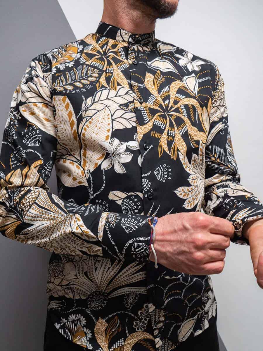 ESTASI Camicia in cotone stampa foglie con collo coreana DUA LIPA