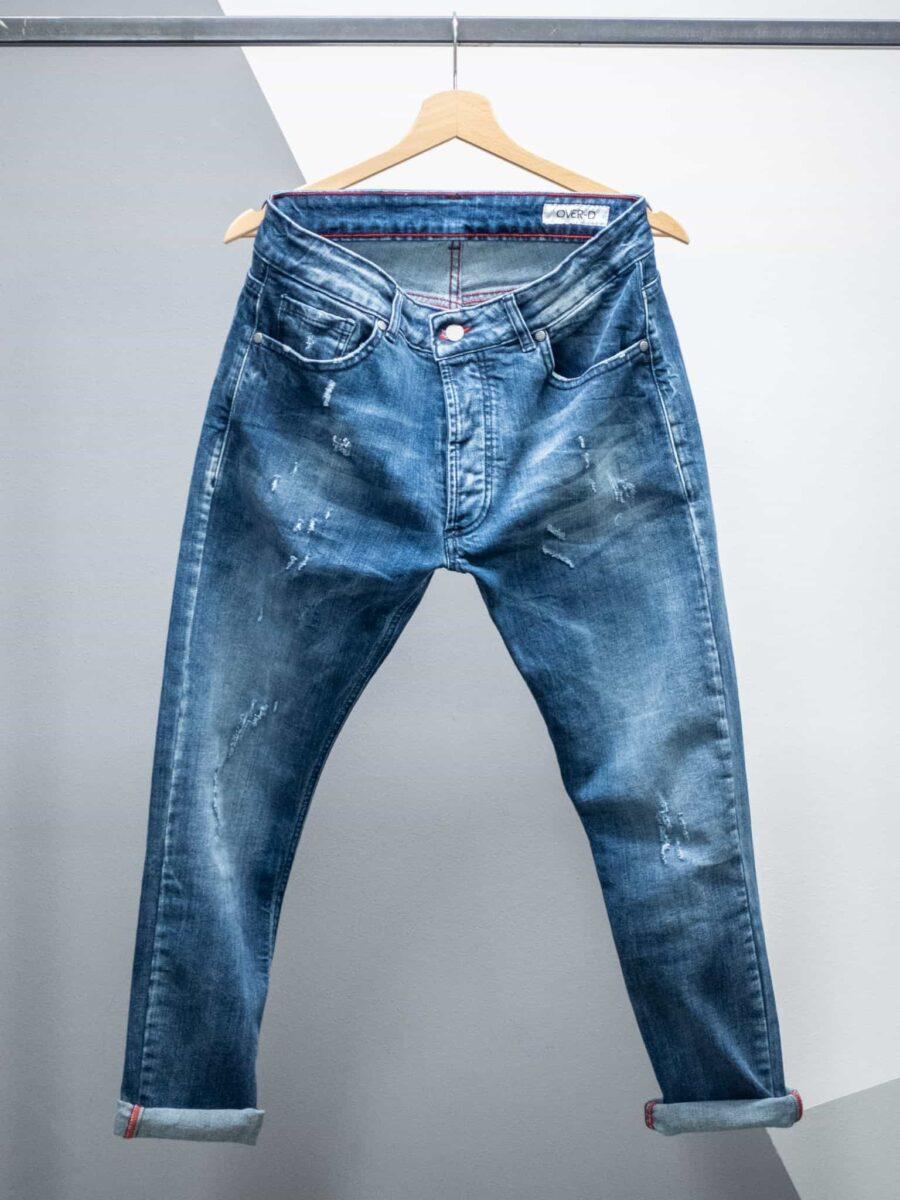 OVER-D Jeans blu scuro con piccole rotture OM107JN