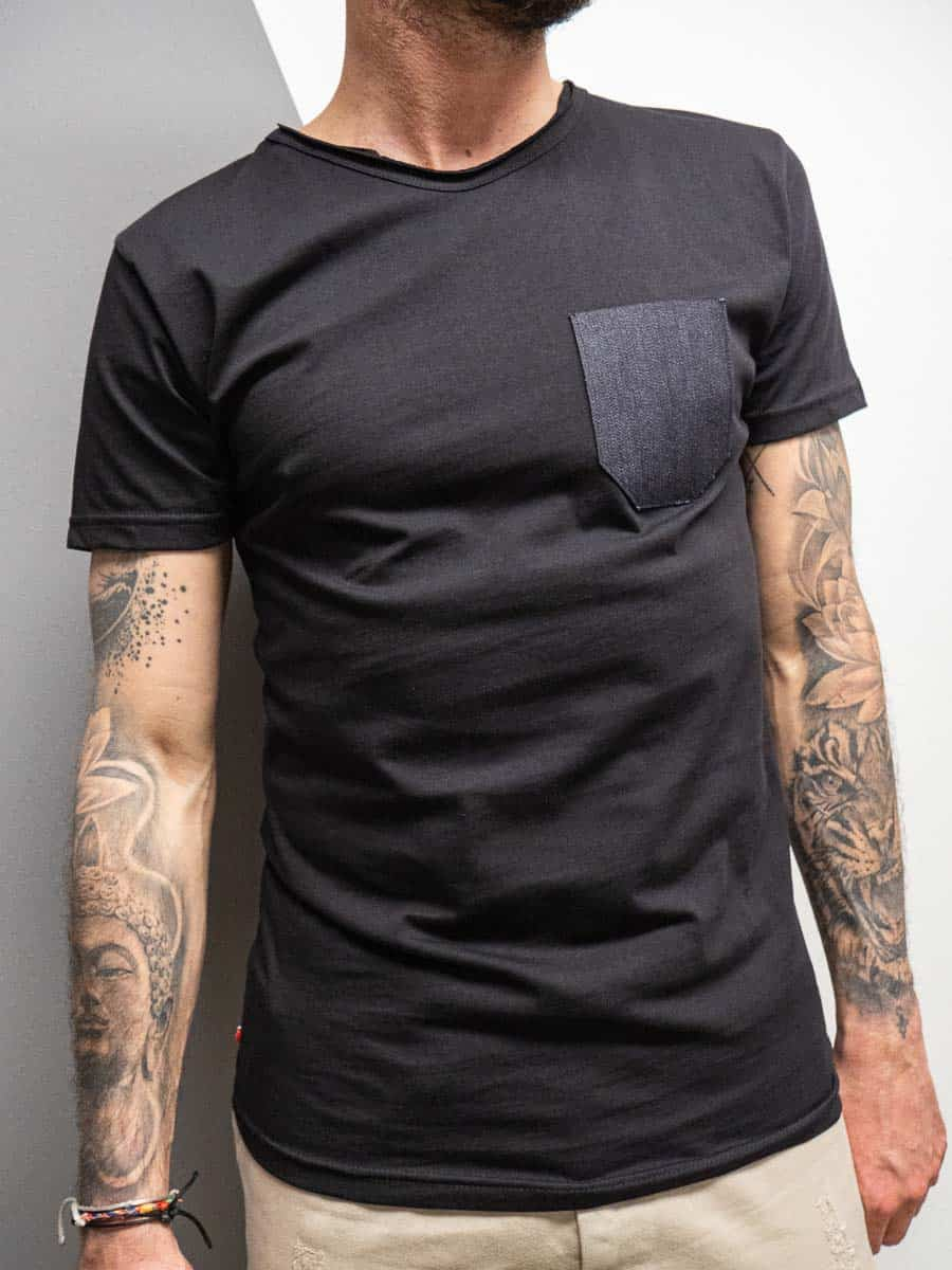 V2 T-shirt in cotone con taschino stampa JEANS 34