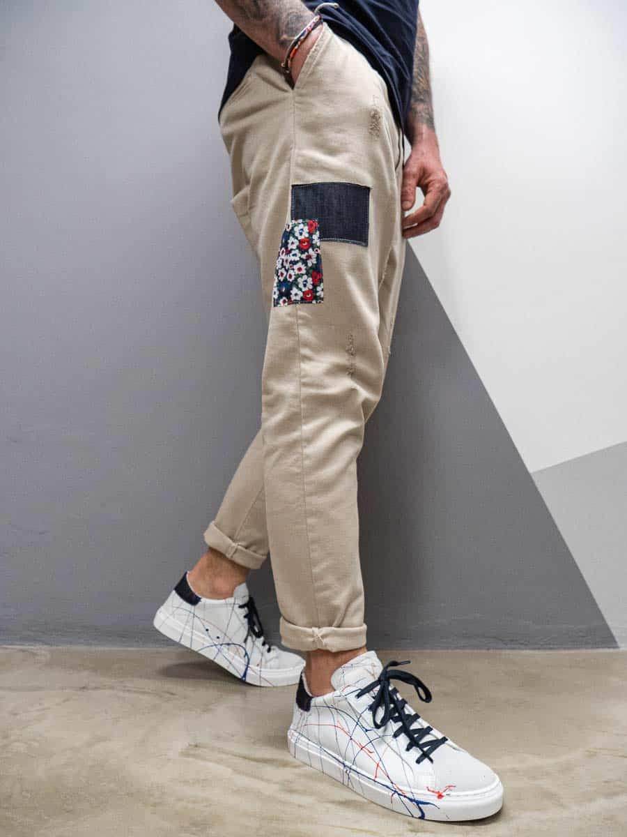 V2 Jeans con coulisse in vita e patch laterali DRILL PATCH
