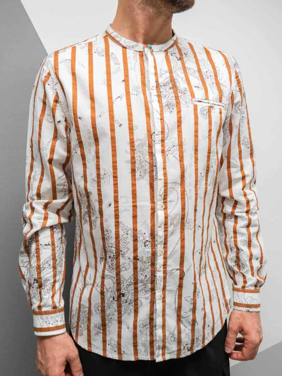 BERNA Camicia in fantasia righe con collo coreana 210024
