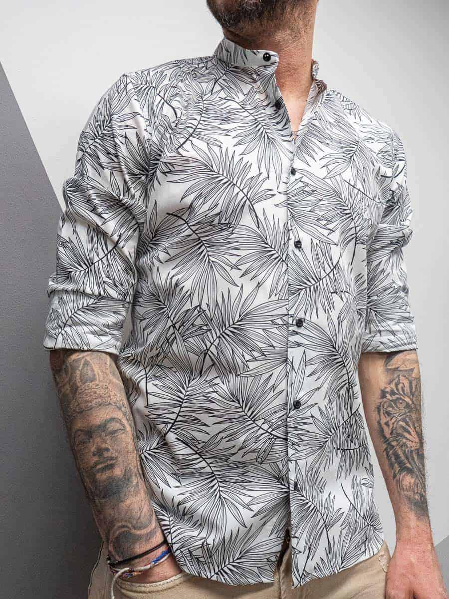 ESTASI Camicia slim in cotone stampa foglie con collo coreana DE NIRO