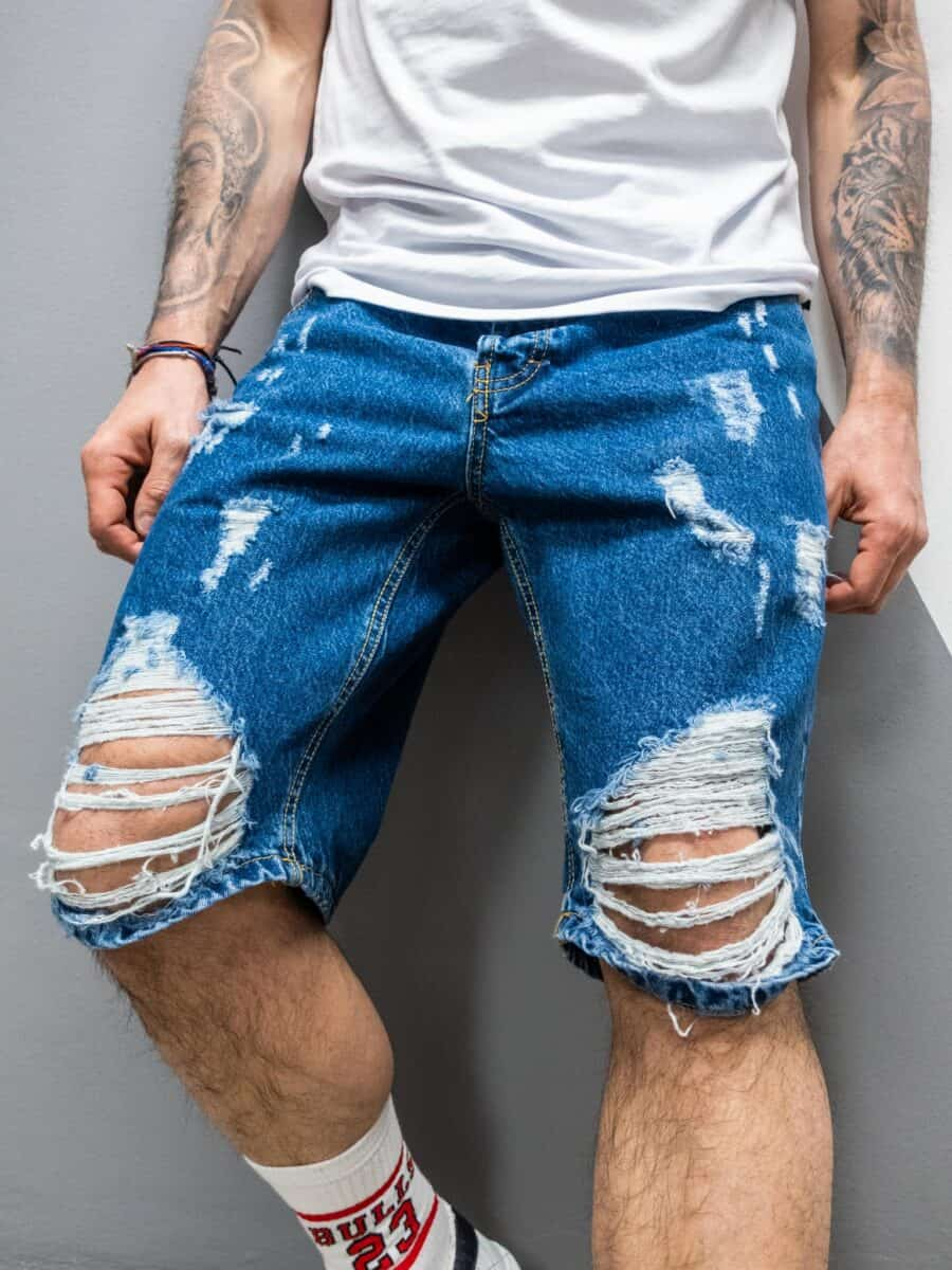 OVER-D Bermuda in jeans con rotture OM812BR