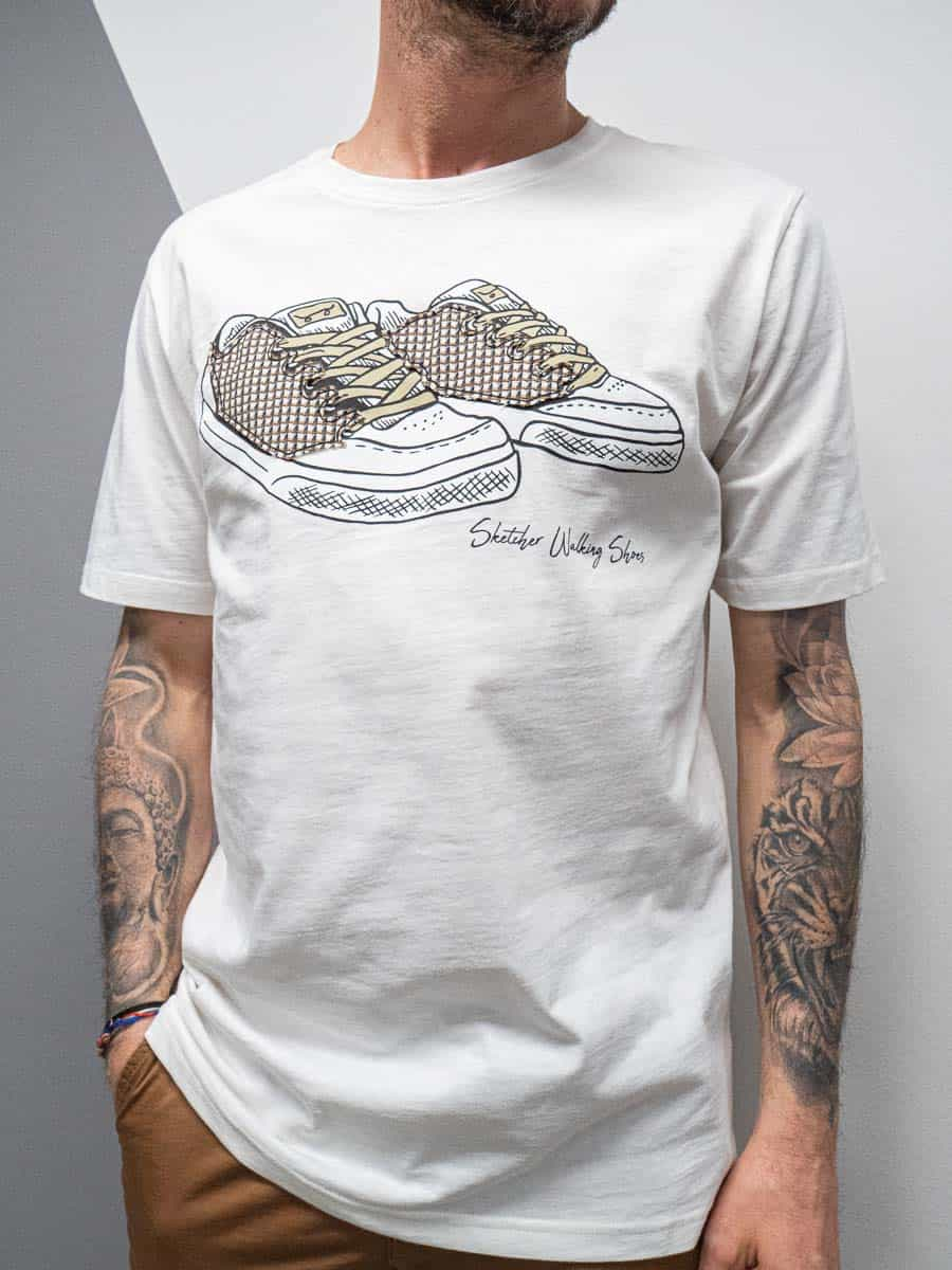 OVER-D T-shirt girocollo con stampa sneakers OM785TS