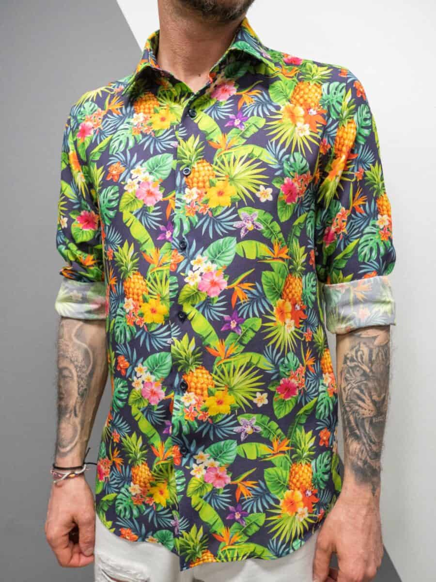 V2 Camicia in viscosa stampata con colletto classico HAWAII