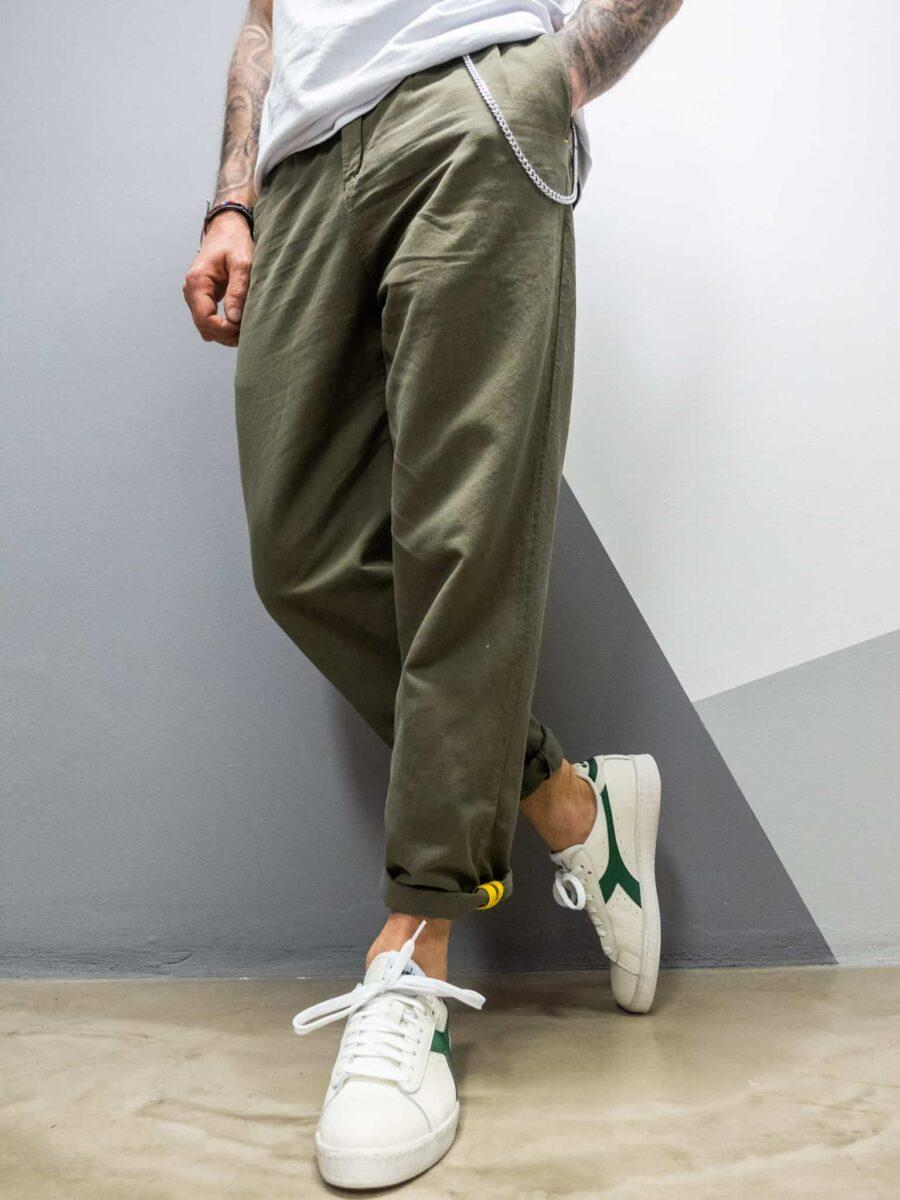 BERNA Pantalone in misto lino gamba ampia e catenella laterale 210148