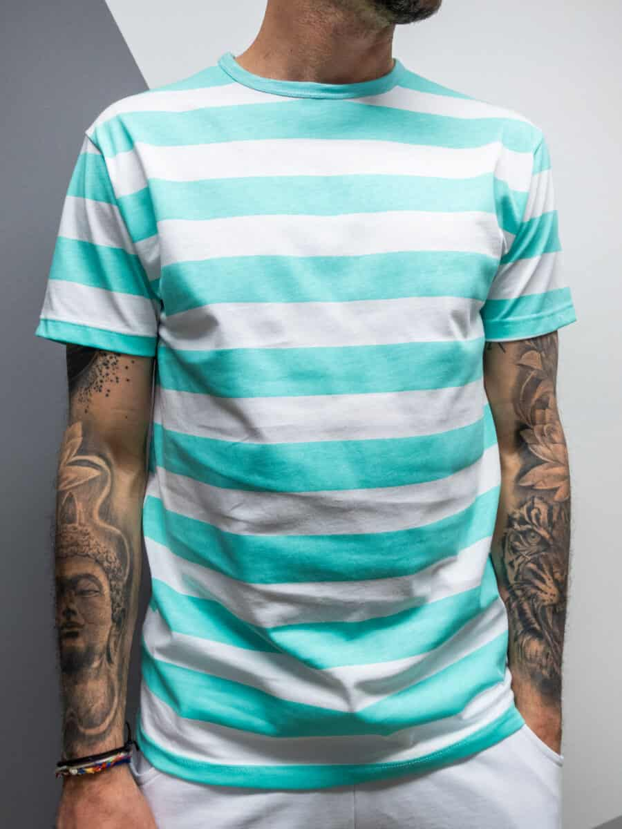 BLACK SUNDAY T-shirt in cotone a righe colorate BKS68