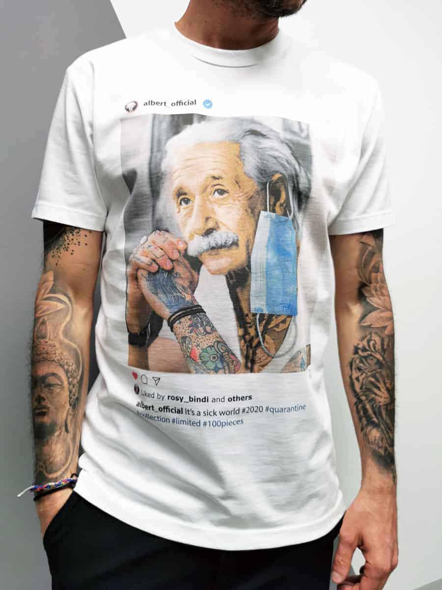 ESTASI T-shirt slim in cotone con stampa EINSTEIN