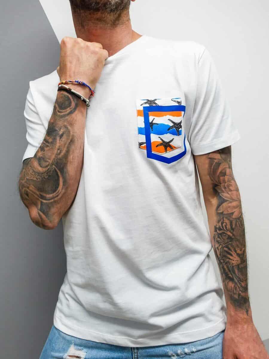 FORWARD MILANO T-Shirt con taschino colorato e stampa stelle marine X16506