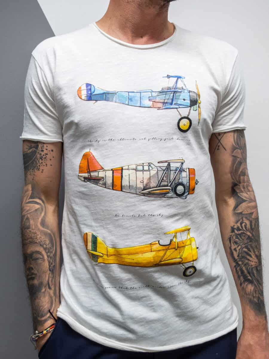 FORWARD T-shirt in cotone con stampa areoplanini vintage X23616