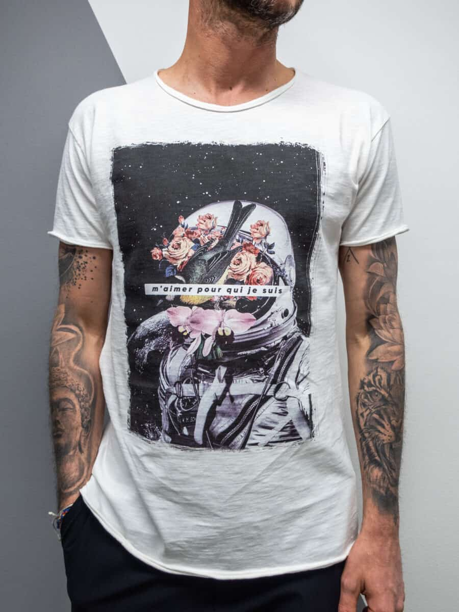 FORWARD T-shirt in cotone con stampa astronauta e rose X23617