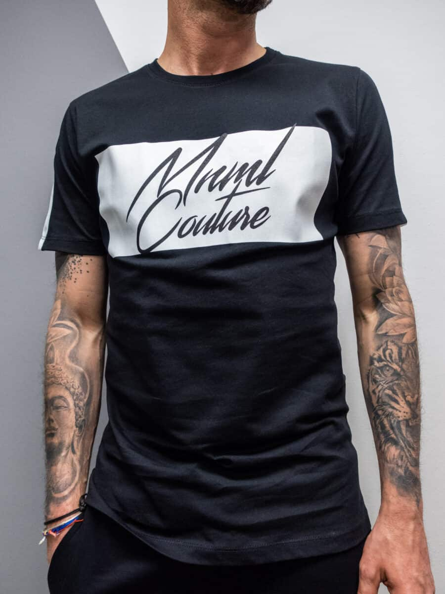 MINIMAL COUTURE T-shirt bicolore con stampa frontale MN130