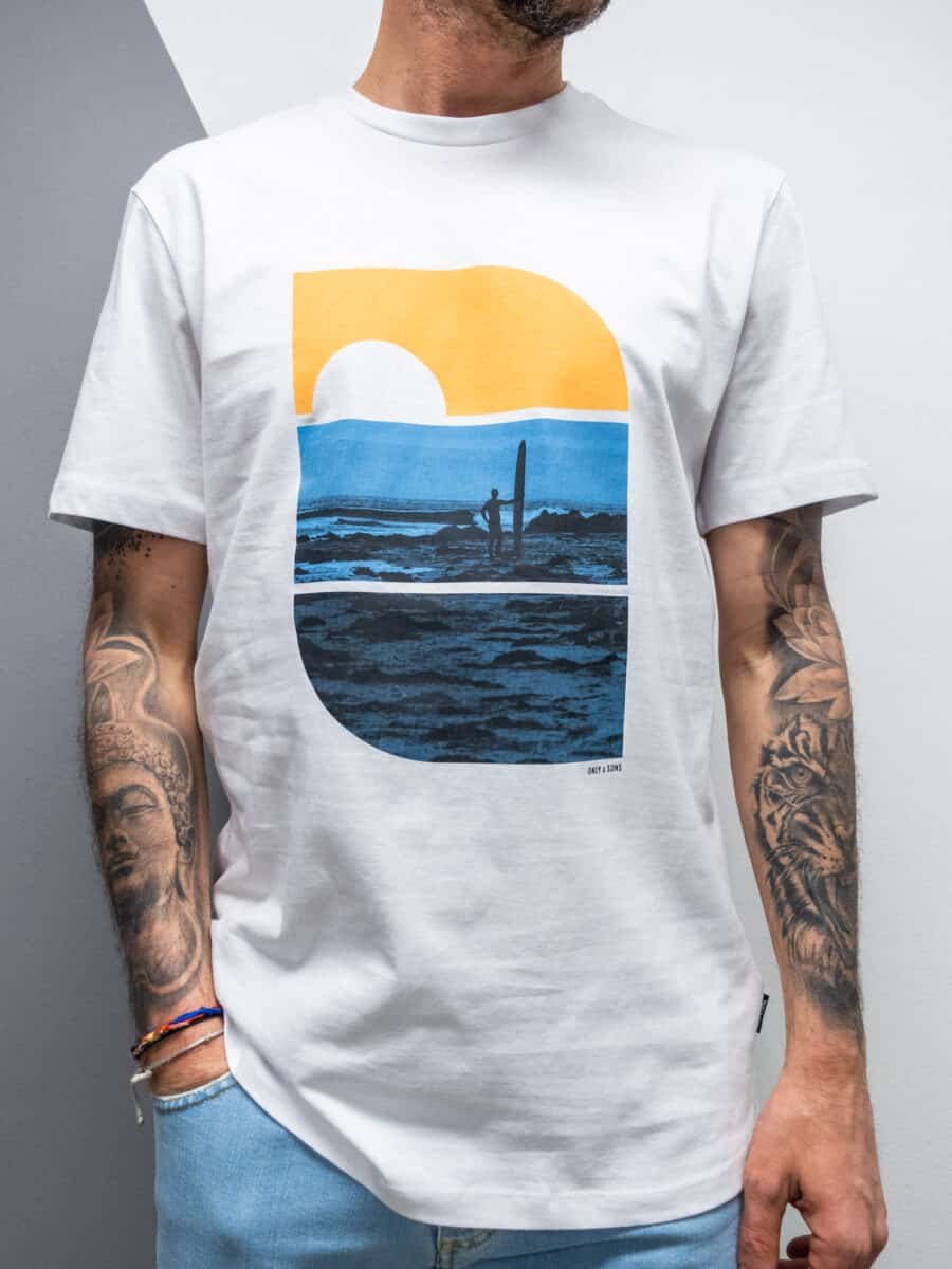 ONLY&SONS T-shirt in cotone con stampa mare PLAZA 9747