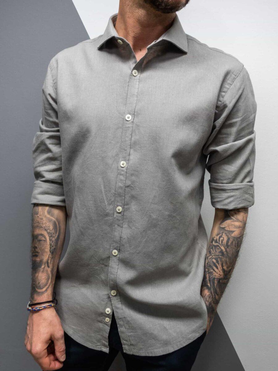 OVER-D Camicia in lino con colletto OM353CM