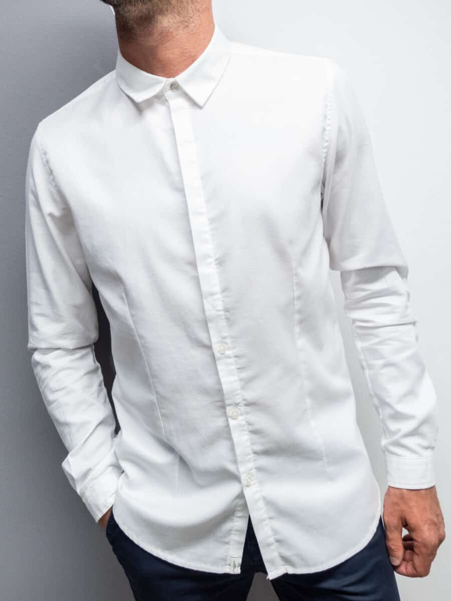 ALTATENSIONE Camicia in cotone operato con colletto 3890 SNOW