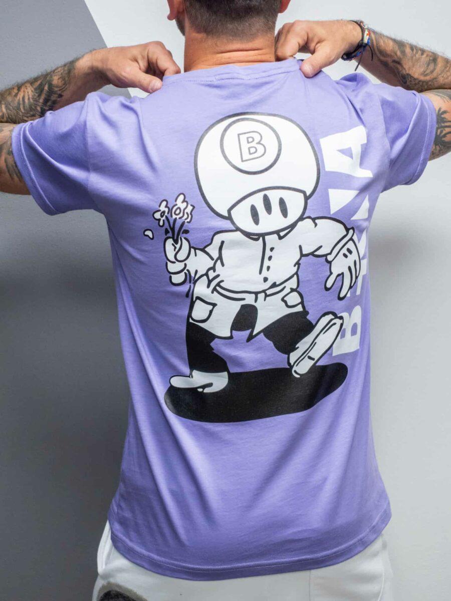 BERNA T-shirt in cotone con stampa funghetto e skate fronte/retro 210265