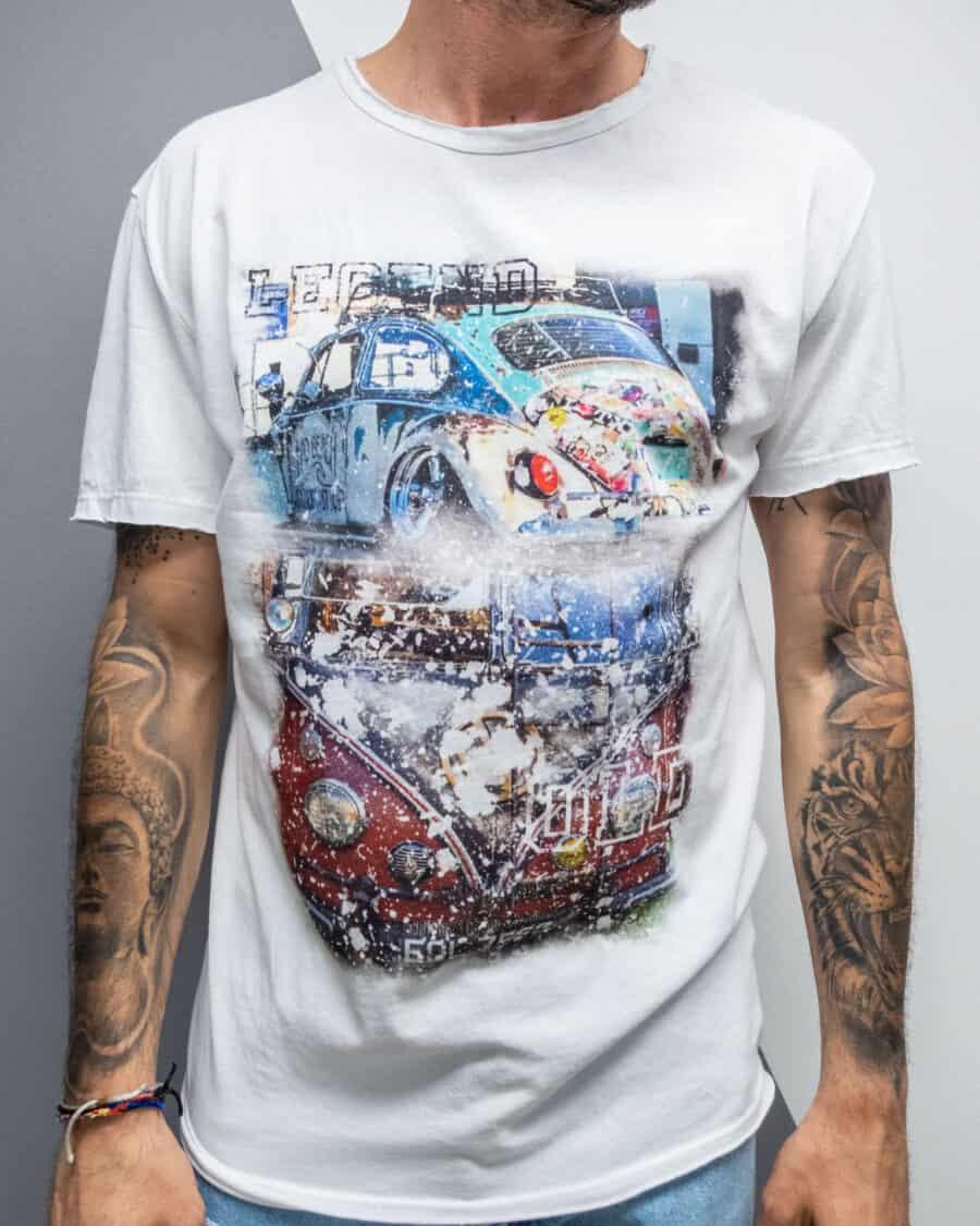 ESTASI T shirt in cotone con stampa Volkswagen bianco 1 Home
