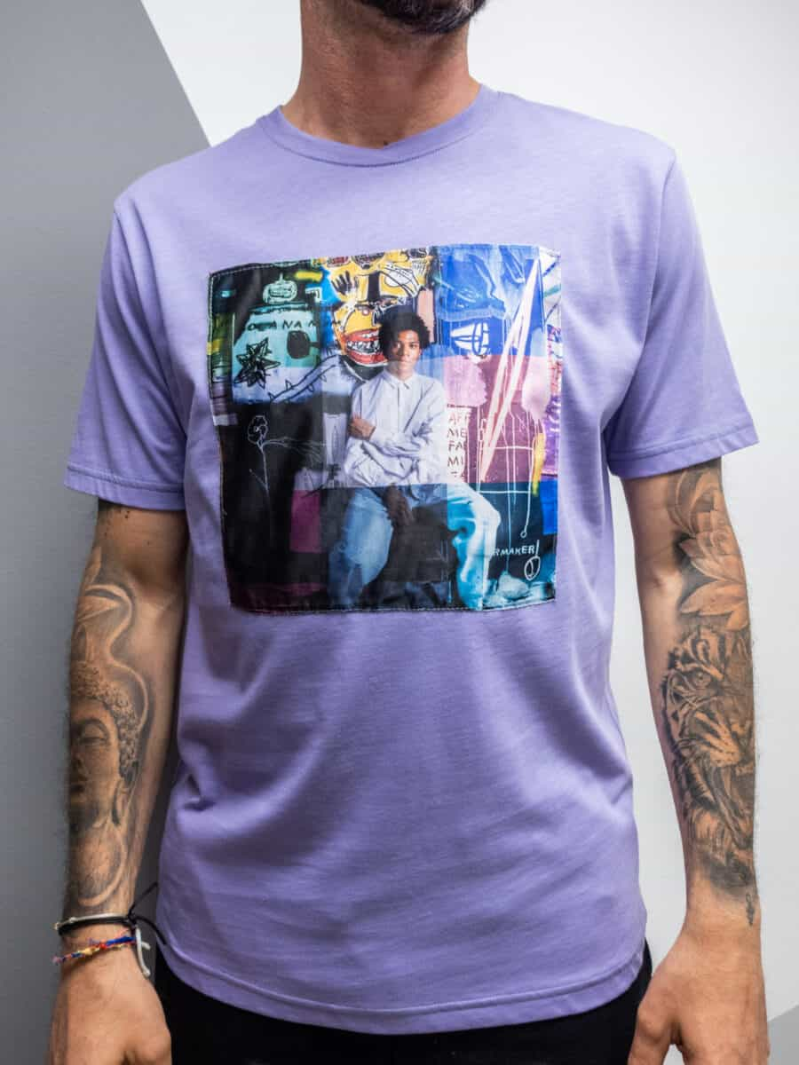 OVER-D T-shirt in cotone con patch colorata OM750TS