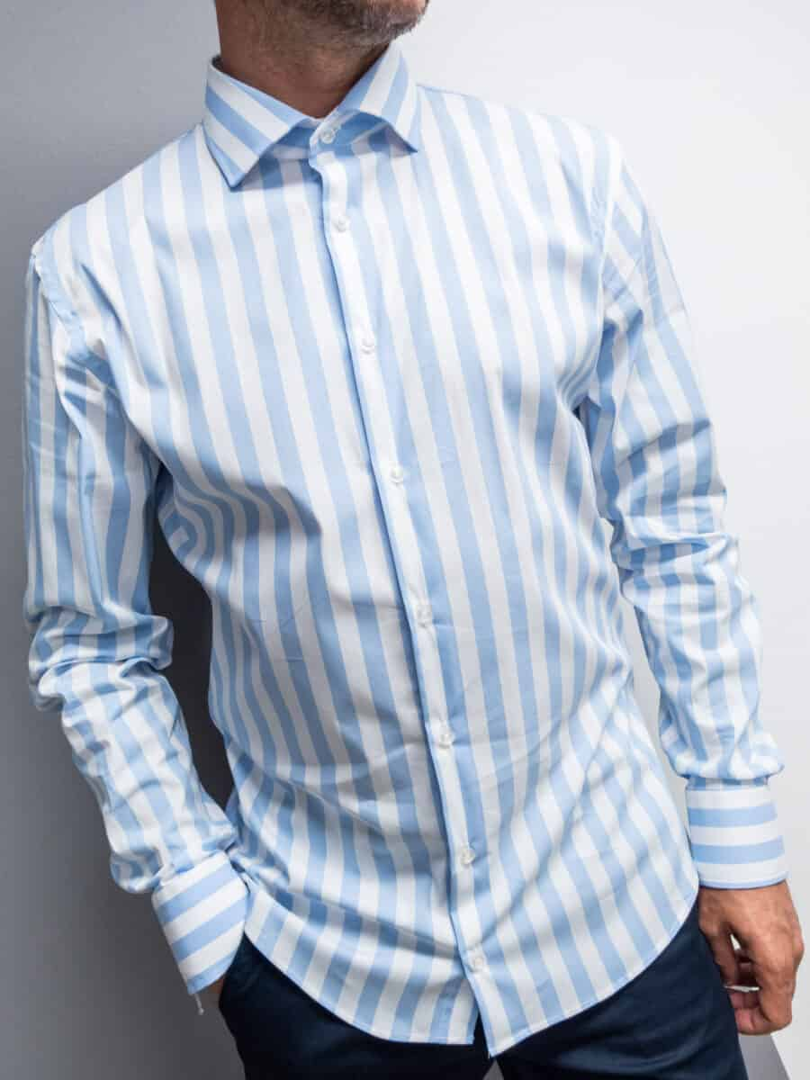 AKIRO' Camicia morbida misto cotone a righe con colletto FA450