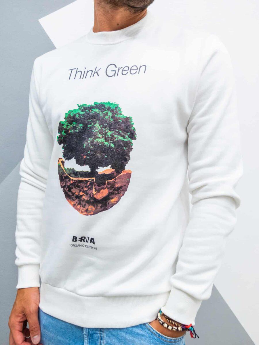 BERNA Felpa girocollo felpata in cotone organico stampa green 215057