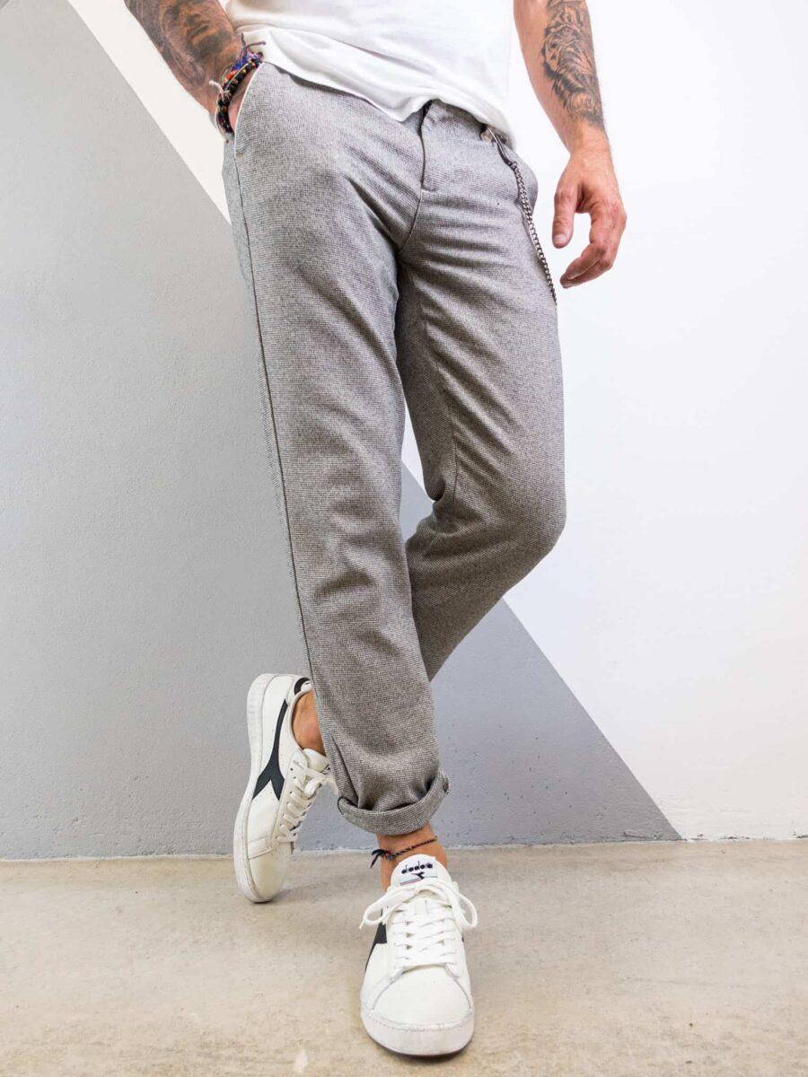 BERNA Pantalone chinos in tessuto micro lavorato con catenella 215151