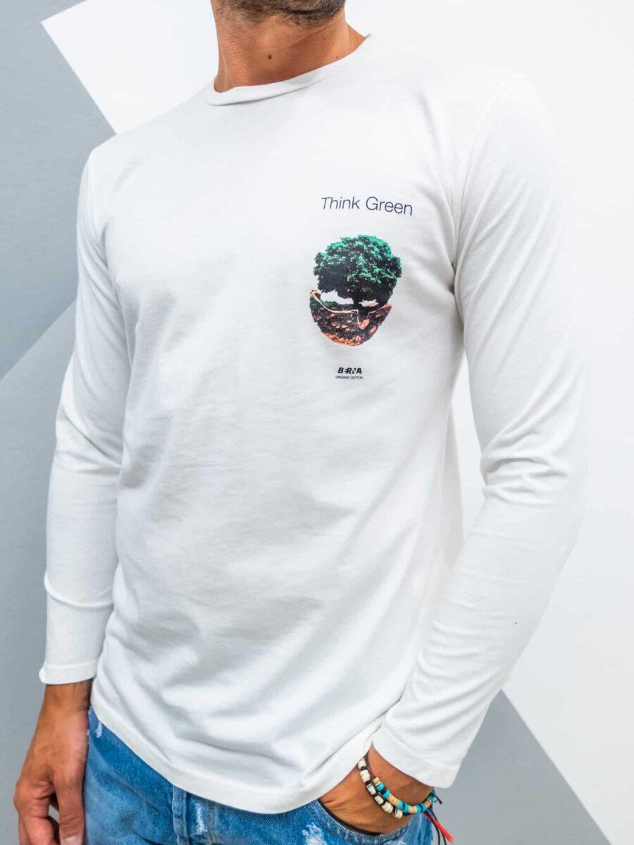 BERNA T-shirt in cotone organico stampa green fronte/retro 215058