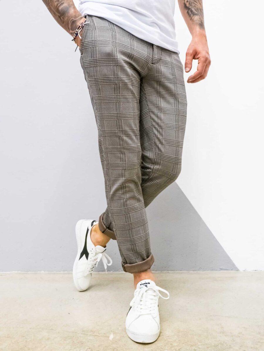 IMPERIAL Pantalone slim morbido da abito a quadri P5441P2133