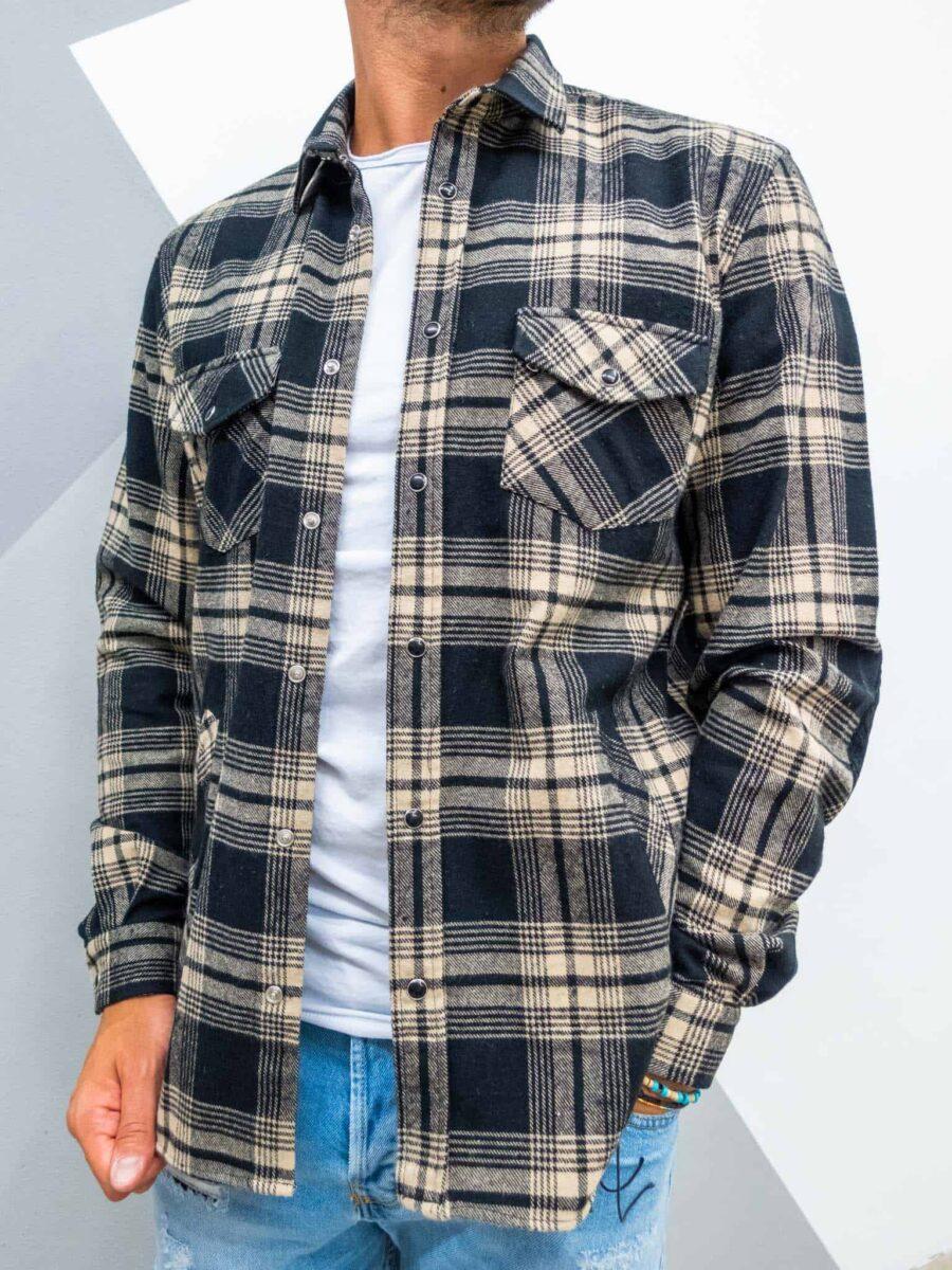 OVER-D Camicia in flanella a quadri con tasche e toppe sui gomiti C20