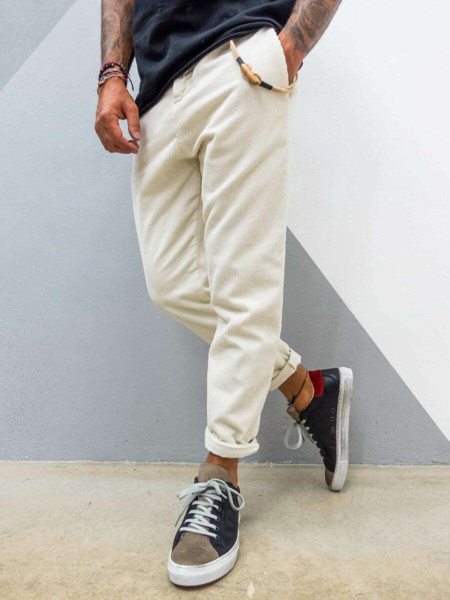 OVER-D Pantalone in velluto a costine con cordino rimovibile P039