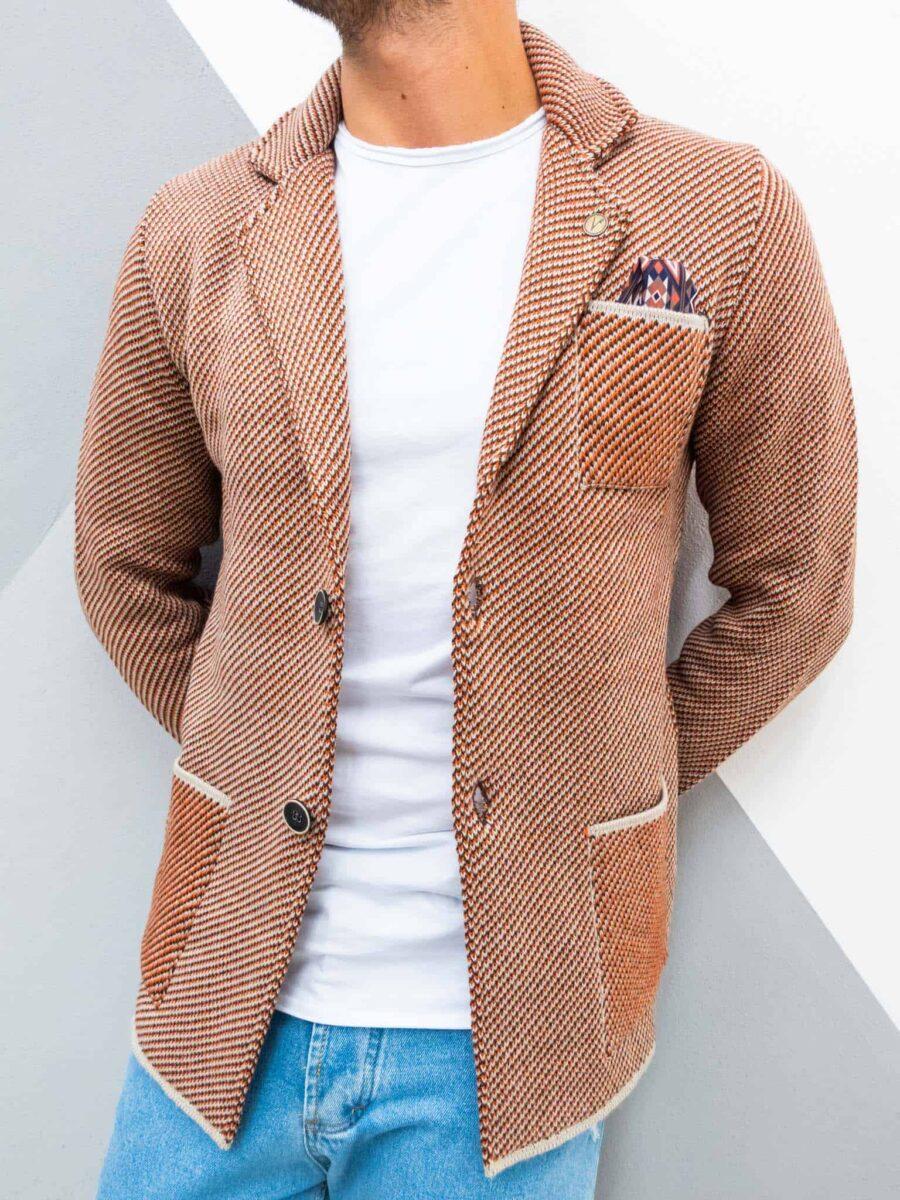 V2 Giacca in maglia misto lana lavorata multicolor con pochette GULPPQT