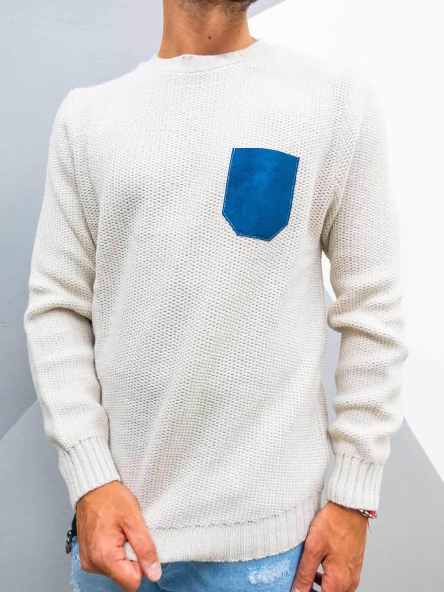 V2 Maglione girocollo 3D misto lana con taschino stampa JEANS