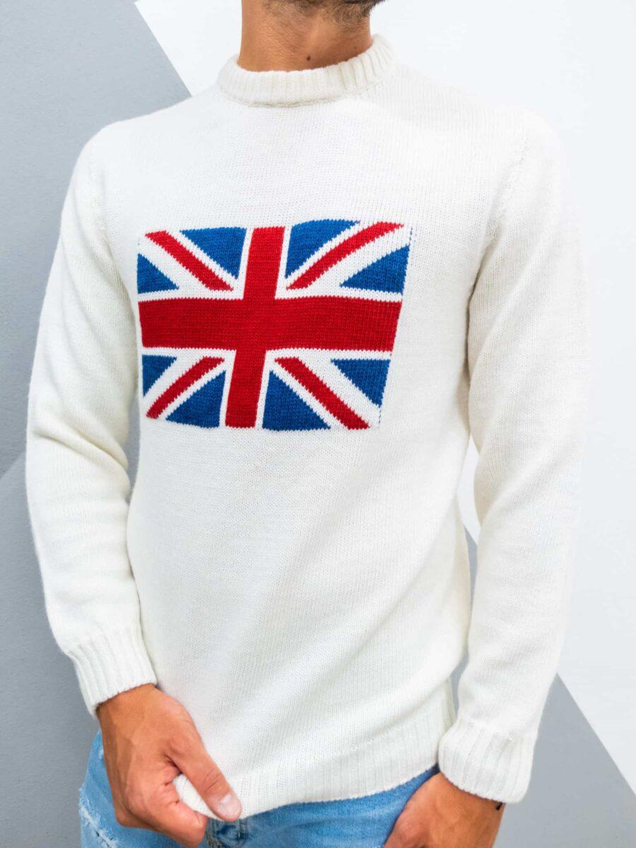 V2 Maglione girocollo misto lana con bandiera REGNO UNITO