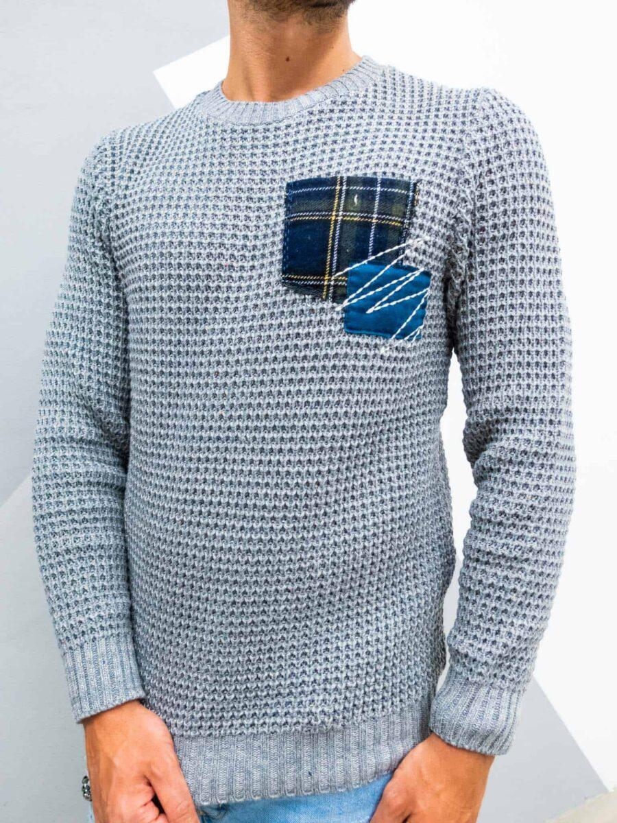 V2 Maglione girocollo misto lana con taschino PATCHWORK