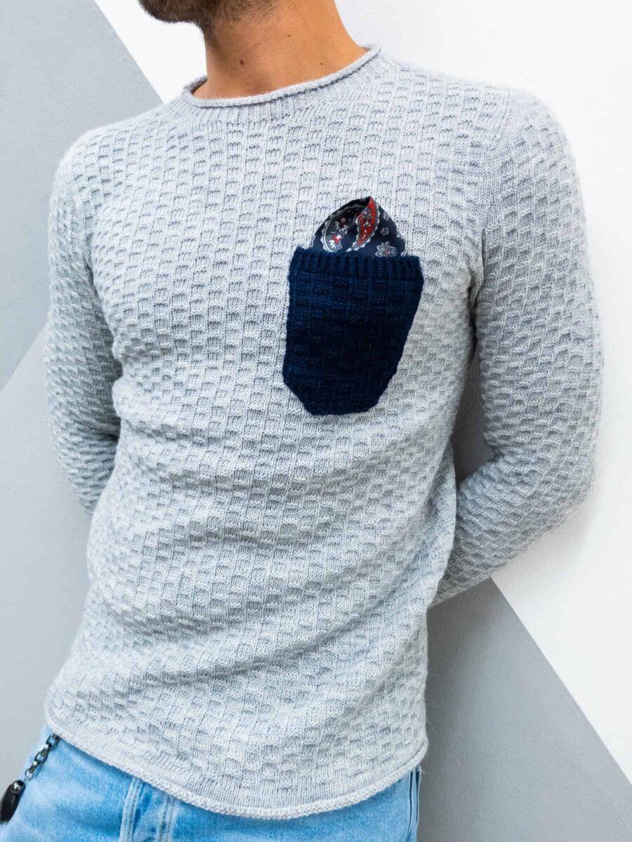 V2 Maglione girocollo slim misto lana con taschino POCHETTE