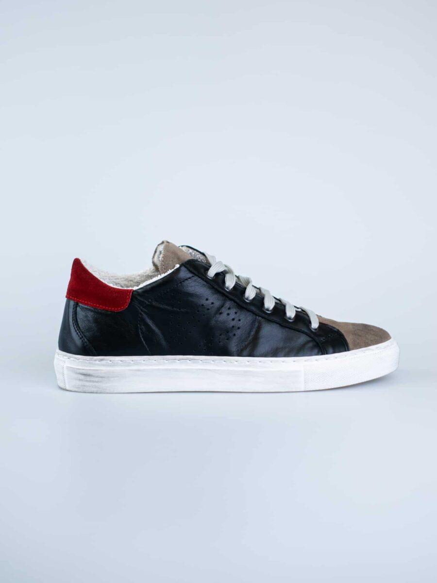 V2 Sneakers in pelle con logo forato e linguetta e tallone a contrasto