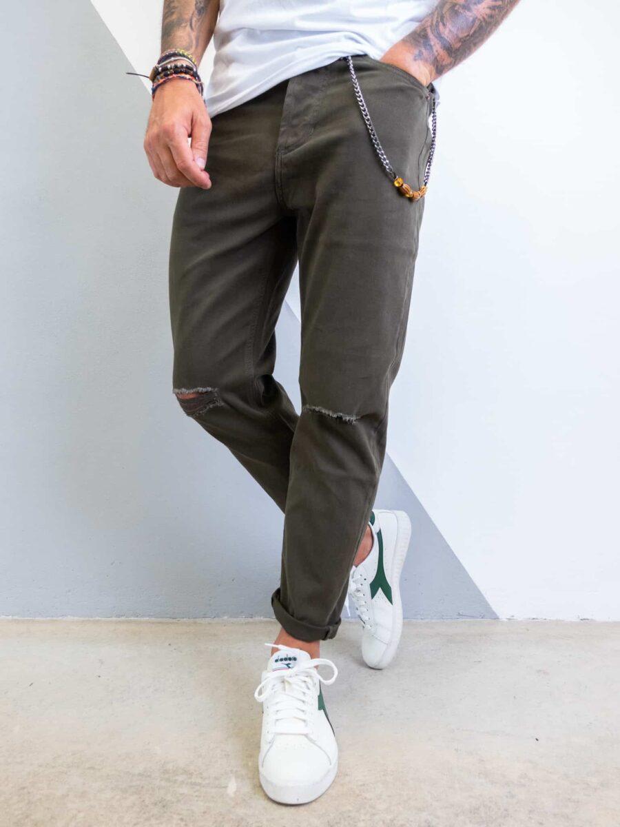 GIANNI LUPO Pantalone con taglio al ginocchio e catenella FJ3287